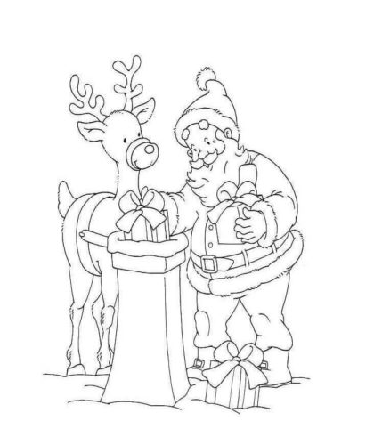 Santa With Christmas Gifts Coloring Page