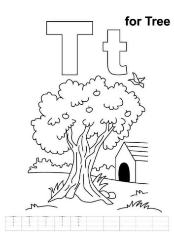 T for Tree Coloring Page
