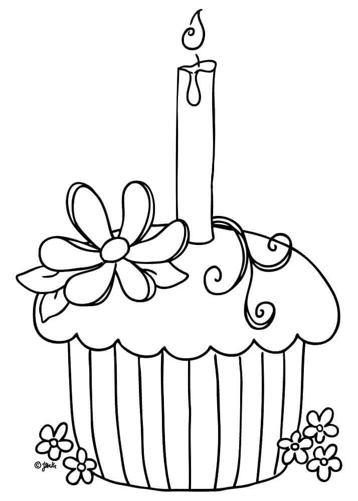 1st Birthday Cupcake Coloring Page