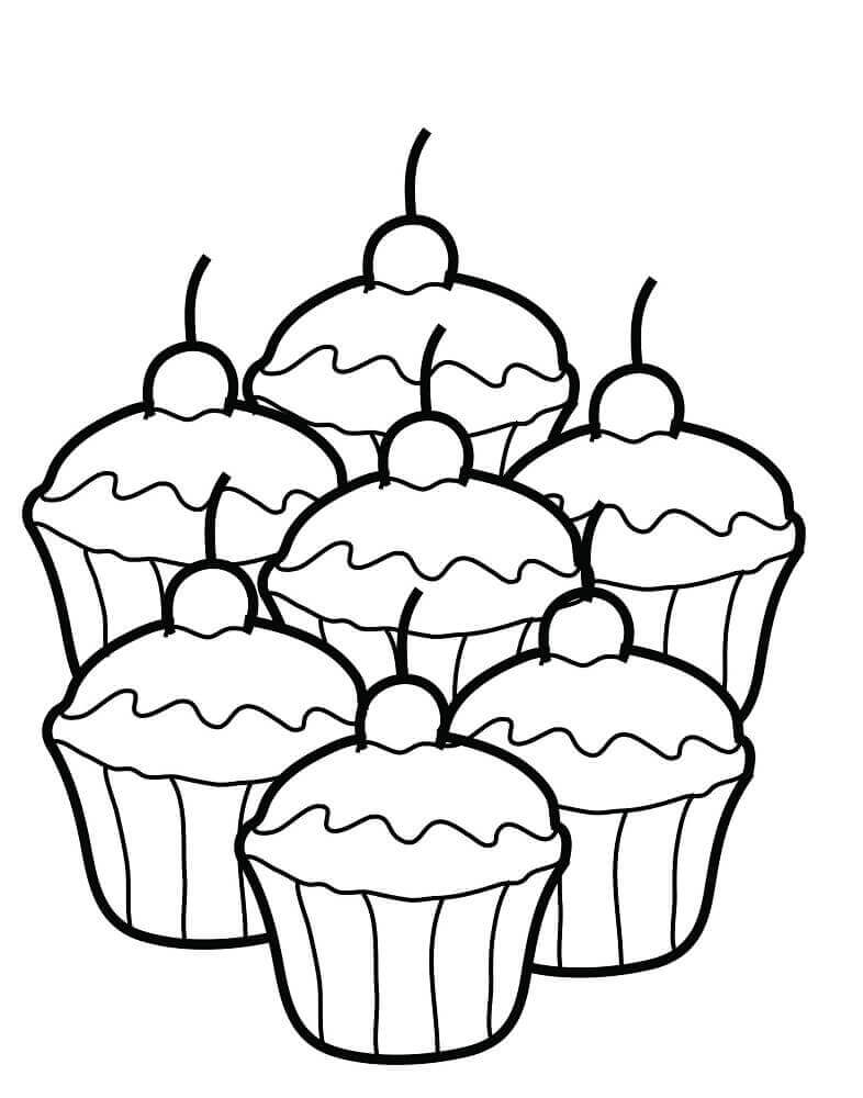 A plate of cupcakes coloring page