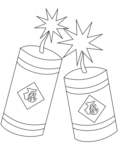 Chinese New Year Firecrackers Coloring Page