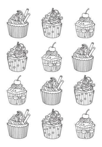 Cupcakes Coloring Sheets