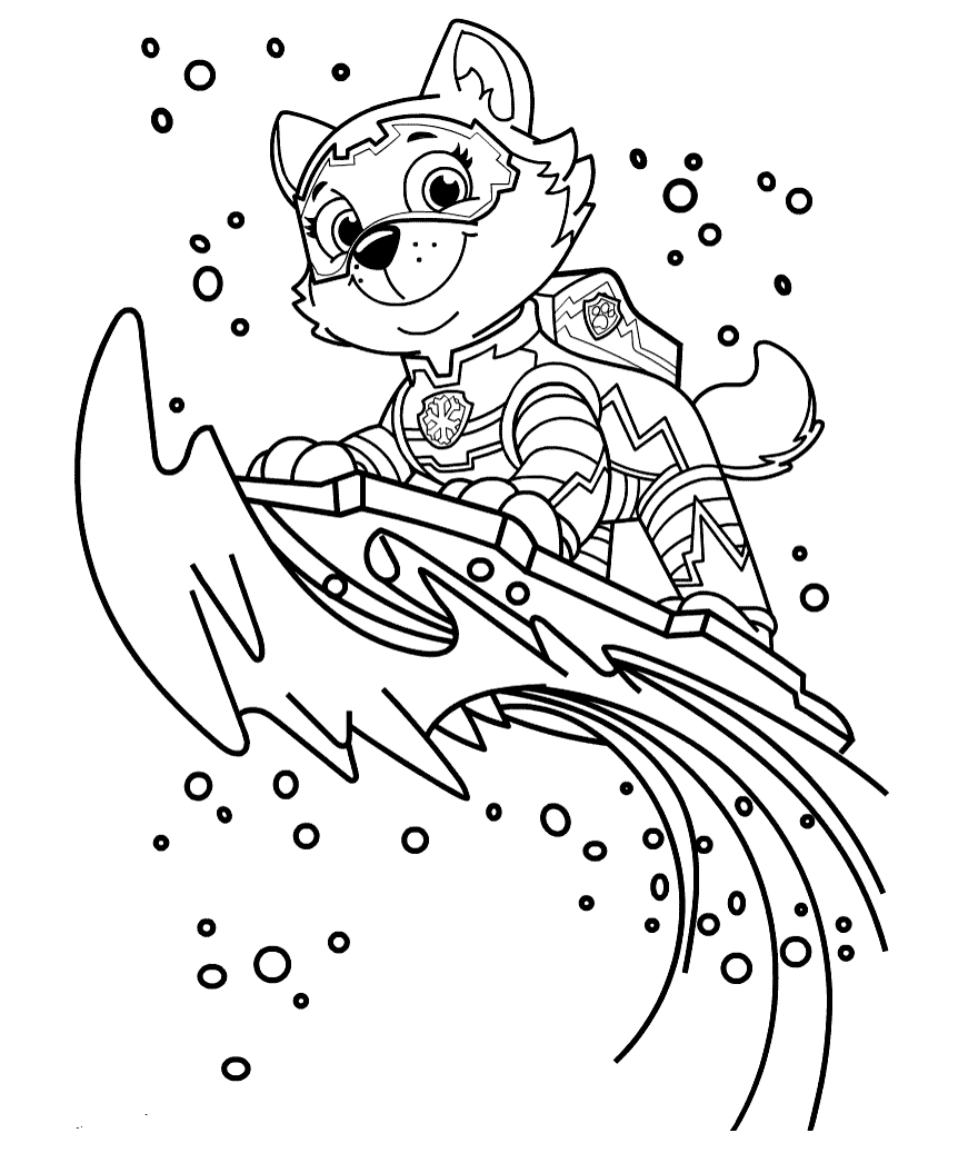 Everest Paw Patrol Mighty Pups Colouring Page