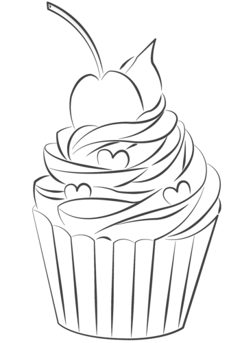 Free Printable Cupcakes Coloring Pages
