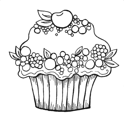 Fruit Cupcake Coloring Page