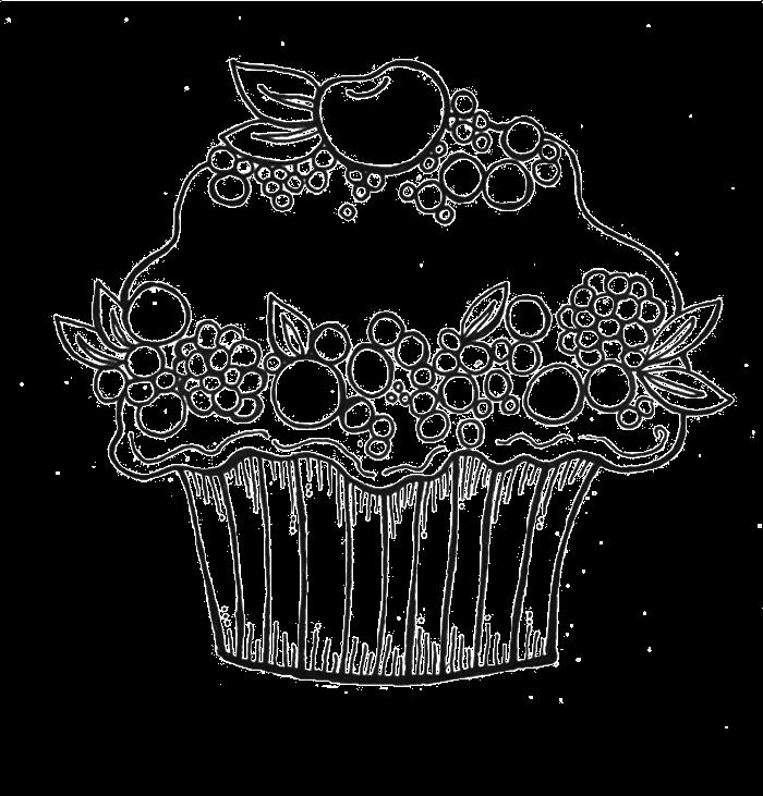 Fruit Cupcake Coloring Page