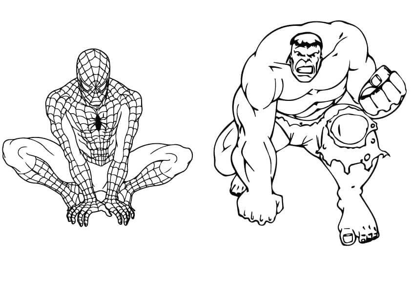 Hulk And Spiderman Coloring Page