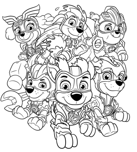 Mighty Pups Coloring Pages