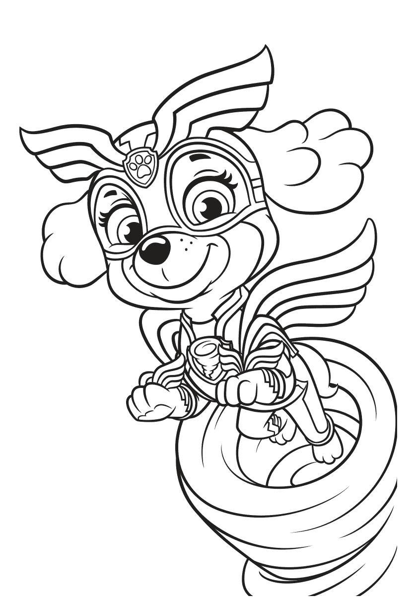 Mighty Pups Coloring Pages Skye