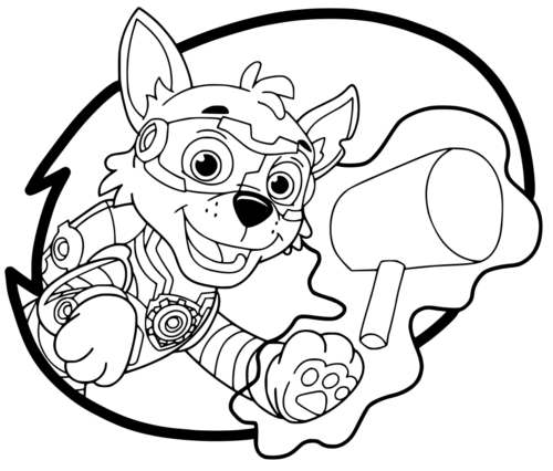 Mighty Pups Coloring Sheets Rocky