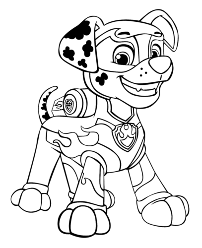 Paw Patrol Mighty Pups Colouring Pages Marshall