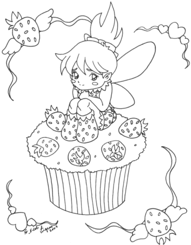 Strawberry Cupcake Coloring Page