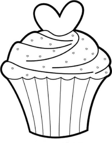 Valentines Day Cupcake Coloring Page