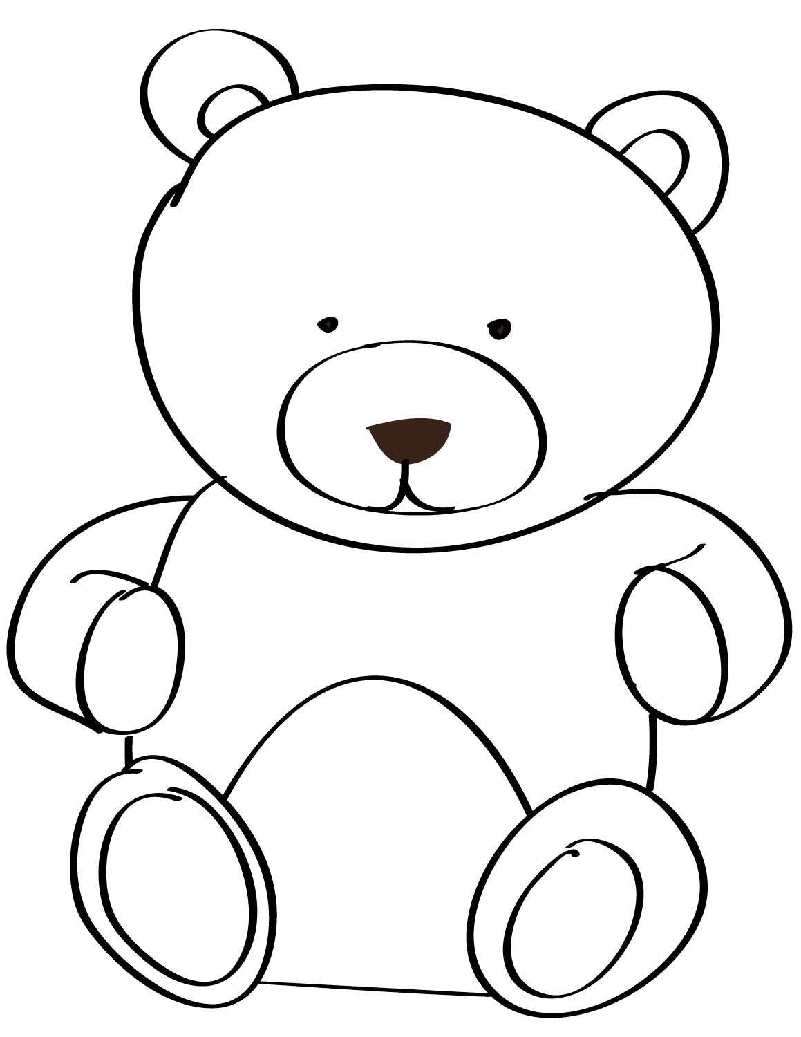 Easy Teddy Bear Coloring Page