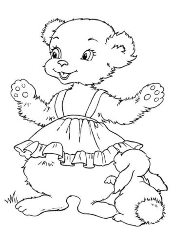 Female Teddy Coloring Page
