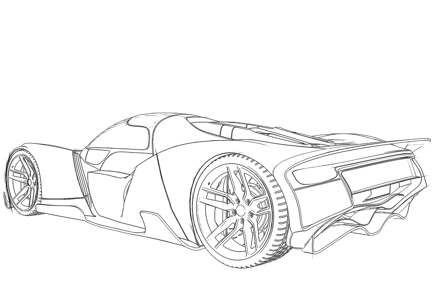 Sports car coloring page