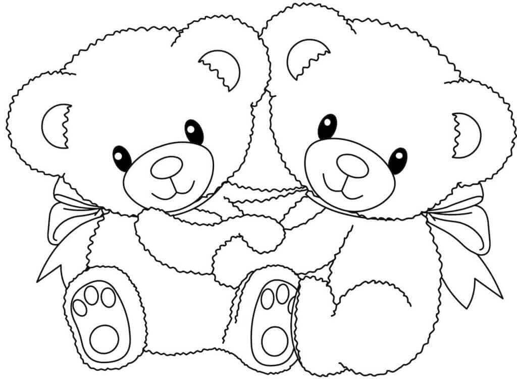 Valentines Day Teddy Bear Coloring Page