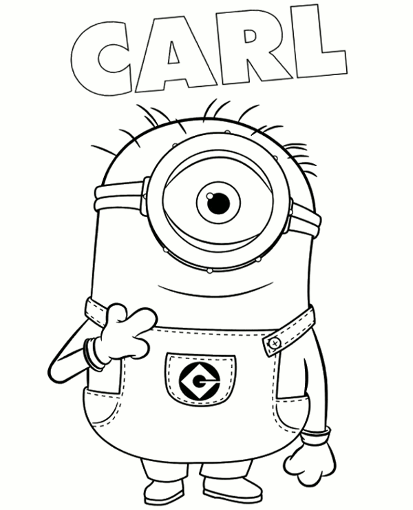 Carl Minion Coloring Page