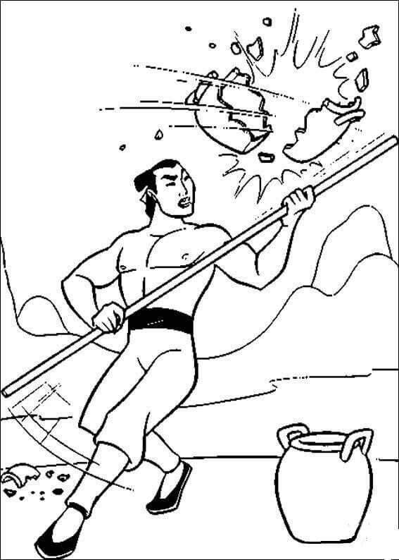 Li Shang From Mulan Coloring Page