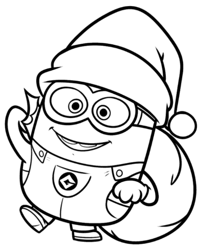 Minion Dressed A Santa Coloring Page
