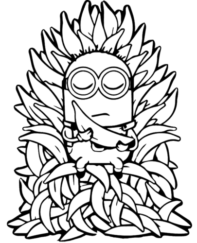 Minion With Banana Coloring Page