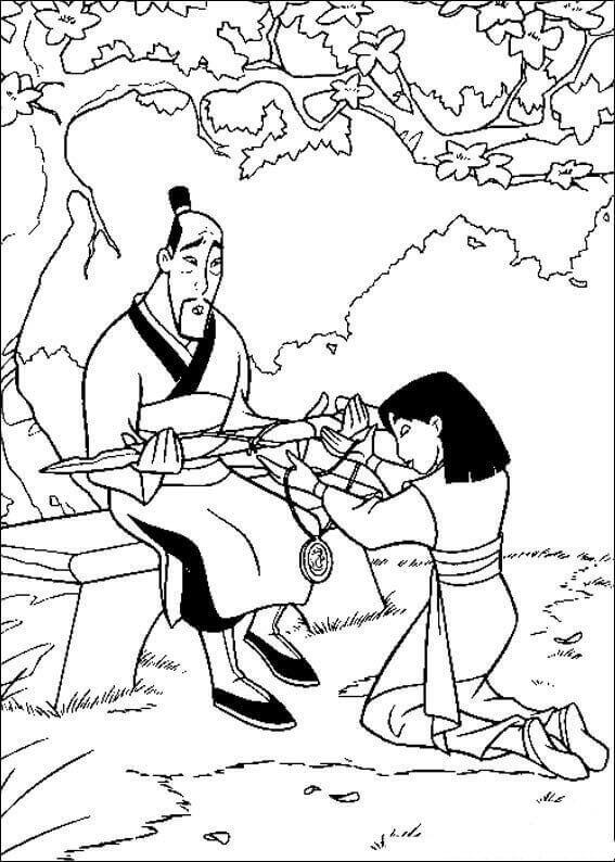 Mulan And Fa Zhou coloring page