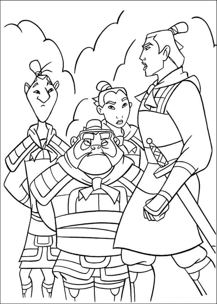 Yao and Ling with Mulan and Li