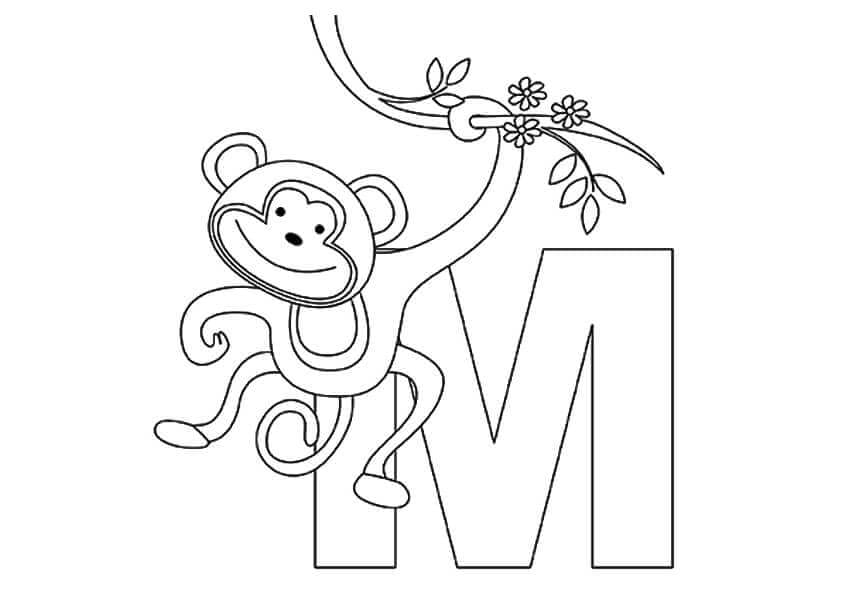 M For Monkey Coloring Page