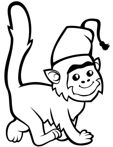 Monkey In Fez Coloring Page