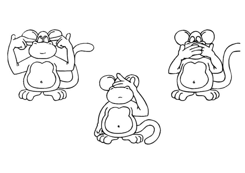Three Wise Monkeys Coloring Page