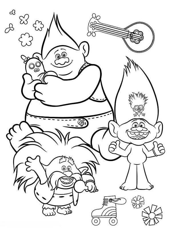 Biggie Trolls 2 Coloring Page