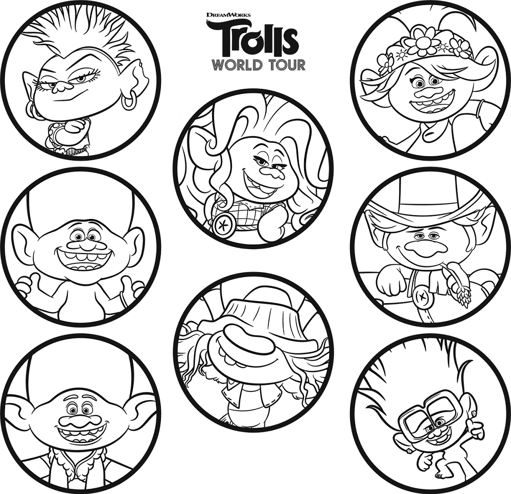 Trolls World Tour Cast Coloring Page