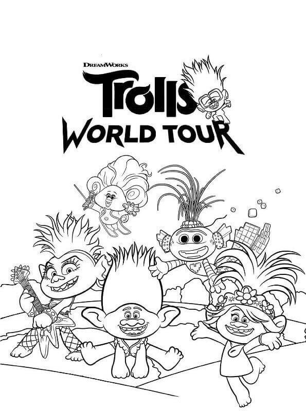 Trolls World Tour Coloring Pages Printable