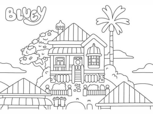 Bluey House Coloring Page