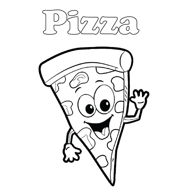 Cartoon Pizza Coloring Page