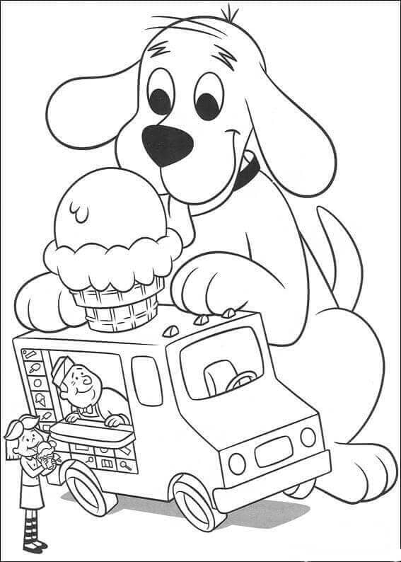 Clifford Ice Cream Coloring Page
