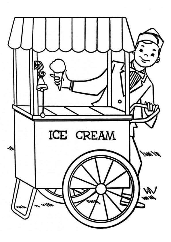 Ice Cream Van Coloring Page