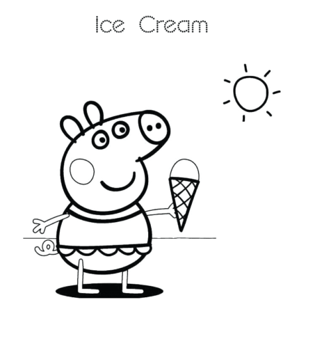 Peppa Pig Enjoying Ice Cream