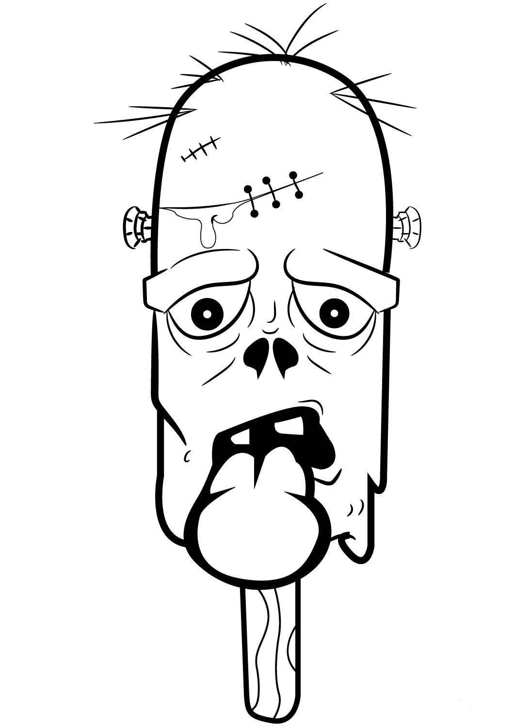 Zombie Ice Cream Coloring Page