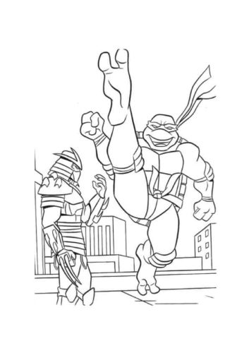 Duel Between Ninja Turtle And Shredder