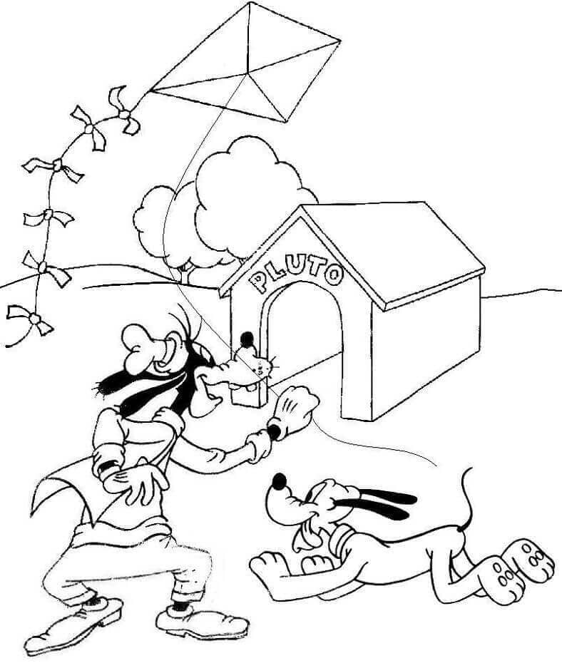 Goofy And Pluto Coloring Page