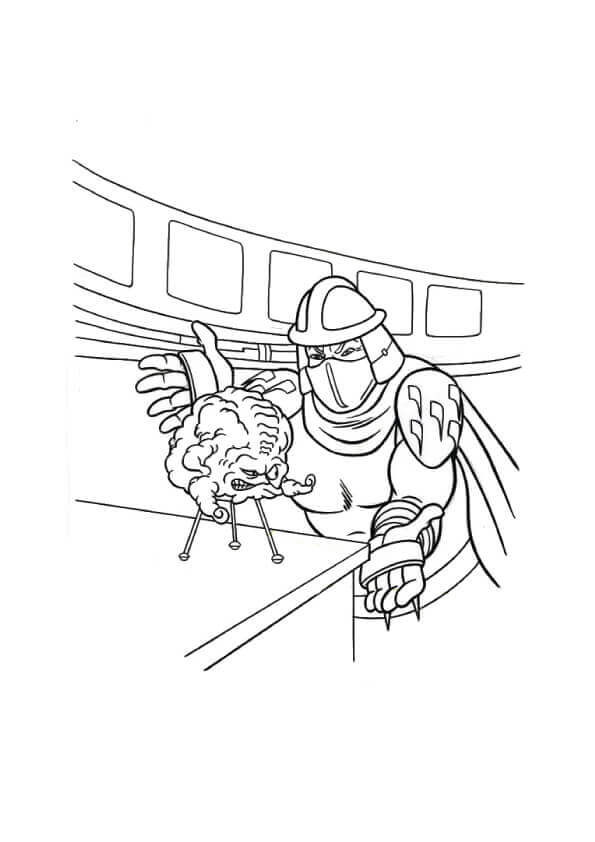 Kraang And Shredder Coloring Page