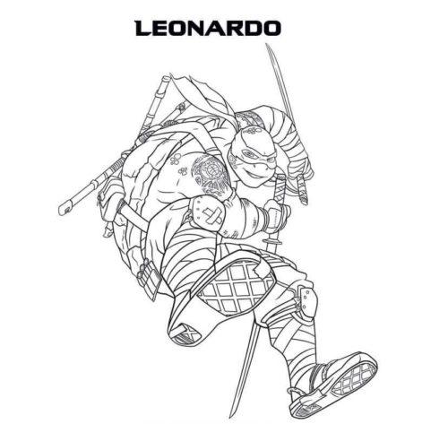 Leonardo Teenage Mutant Ninja Turtles Coloring Page