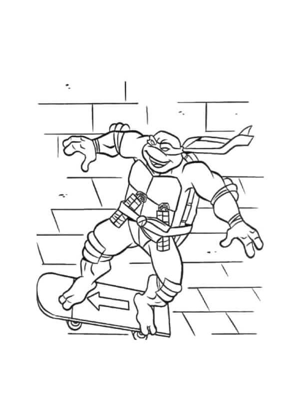 Michelangelo Skating Coloring Page
