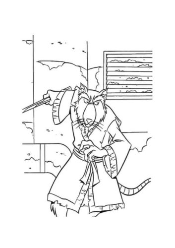 Splinter From TMNT Coloring Page