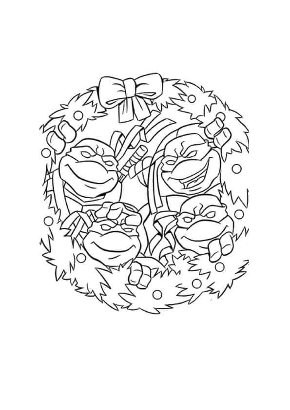Teenage Mutant Ninja Turtles Christmas Coloring Page
