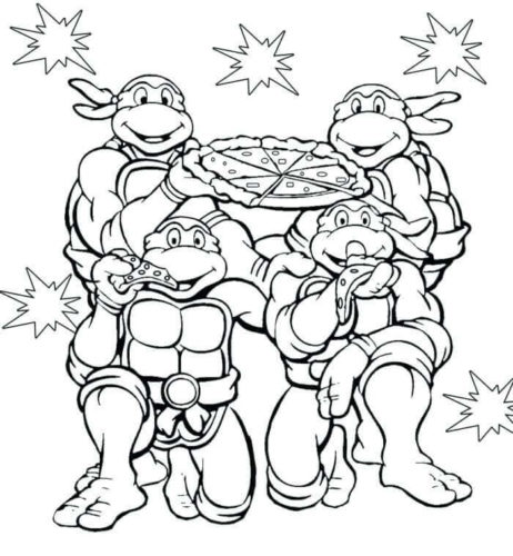 Turtles Enjoying Pizza Coloring Page
