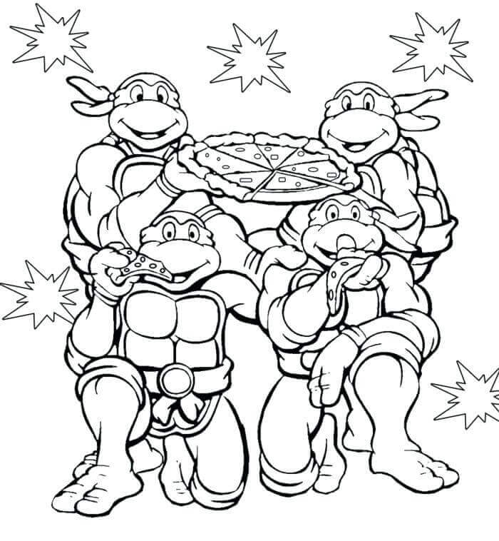 Turtles Enjoying Pizza Coloring Page