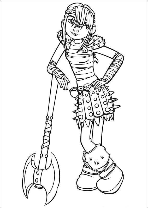 Astrid from How To Train Your Dragon coloring page
