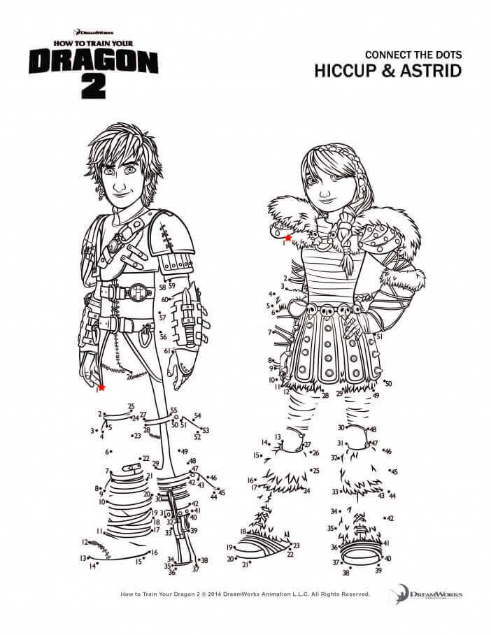Hiccup and Astrid activity sheet